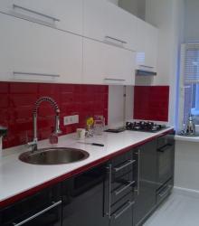 Кухня:фасад- краска глянец ,столешница искуственный камень Tristone белый