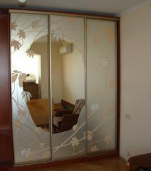 "Шкаф-купе:корпус ДСП ""Яблоня локарно"",фасад-зеркало с рисунком в AL системе"